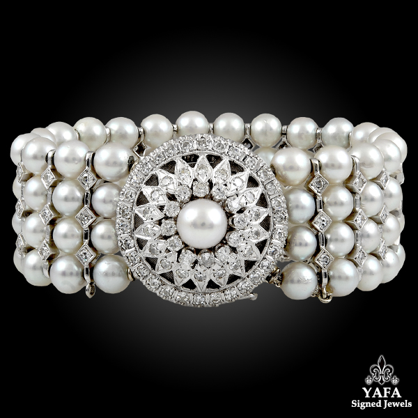 14k White Gold Diamond & Pearl Covered Bracelet-Watch