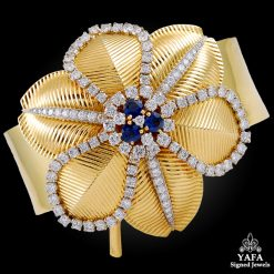 CARTIER Diamond Sapphire Flower Bangle-Pin
