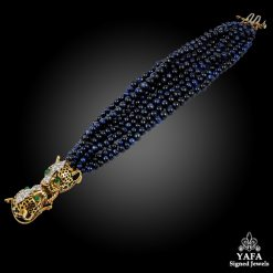 DAVID WEBB Diamond & Sapphire Beads Double Leopard Bracelet
