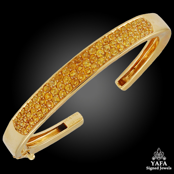 VAN CLEEF & ARPELS Yellow Sapphire Cuff Bangle Bracelet