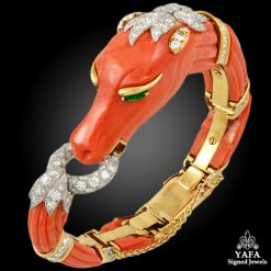 DAVID WEBB Two Tone Diamond, Emerald, Coral Horse Bangle