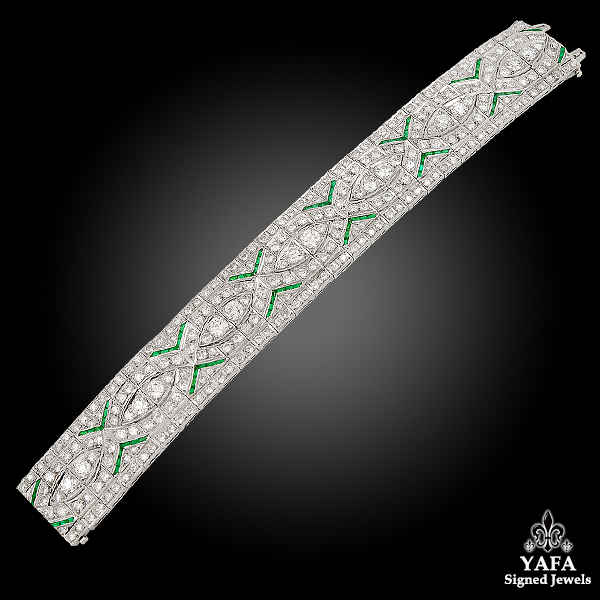 Art Deco Platinum Diamond, Emerald Bracelet
