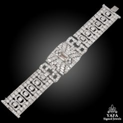 Art Deco Platinum Diamond Bracelet - 95.5 grams
