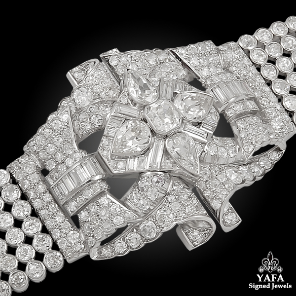 Platinum Openwork Design Diamond Bracelet