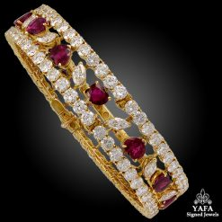 18k Gold Diamond,Heart Shaped Ruby Bangle