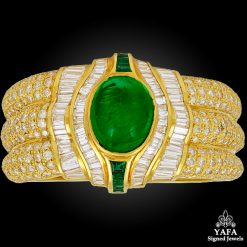 18k Gold Diamond, Emerald Cuff Bracelet