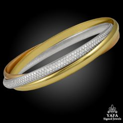 CARTIER Tri Color Diamond Trinity Bangle