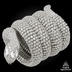 18k Gold Diamond Snake Bangle