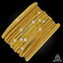 18k Gold Diamond Bangle Suite