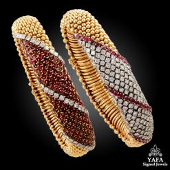 VAN CLEEF & ARPELS Two Ruby, Diamond Bracelets