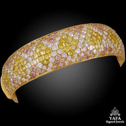18k Gold White, Natural Yellow, Pink Diamond Bangle