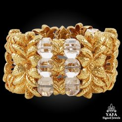 DAVID WEBB Carved Crystal Floral Leaf Bracelet