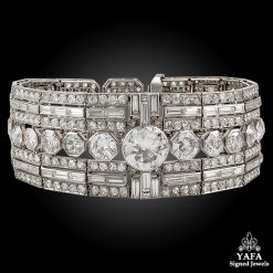 ART DECO Baguette, Round Brilliant-cut Diamond Bracelet