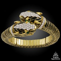 DAVID WEBB Diamond, Emerald Double Tiger Head Bangle
