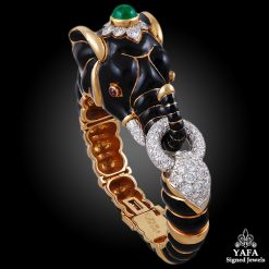 DAVID WEBB Two Tone Diamond, Emerald, Ruby Elephant Bangle