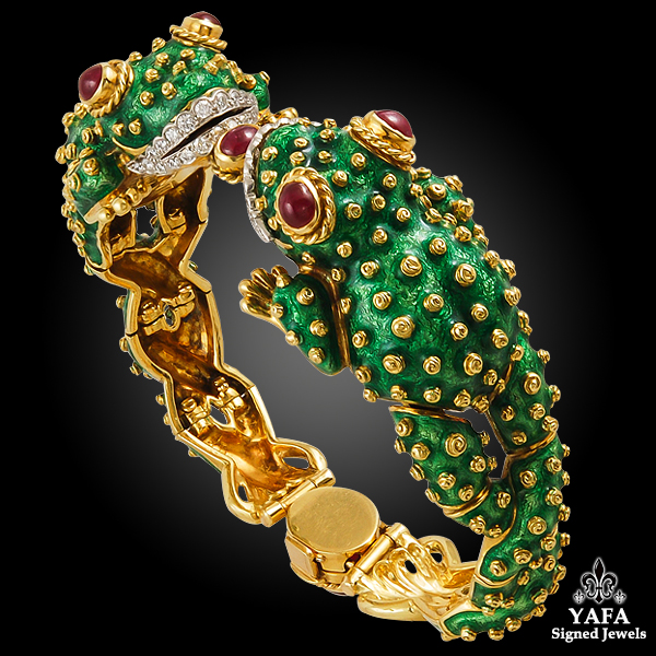 DAVID WEBB Ruby, Diamond, Green Enamel Twin Frog Bangle