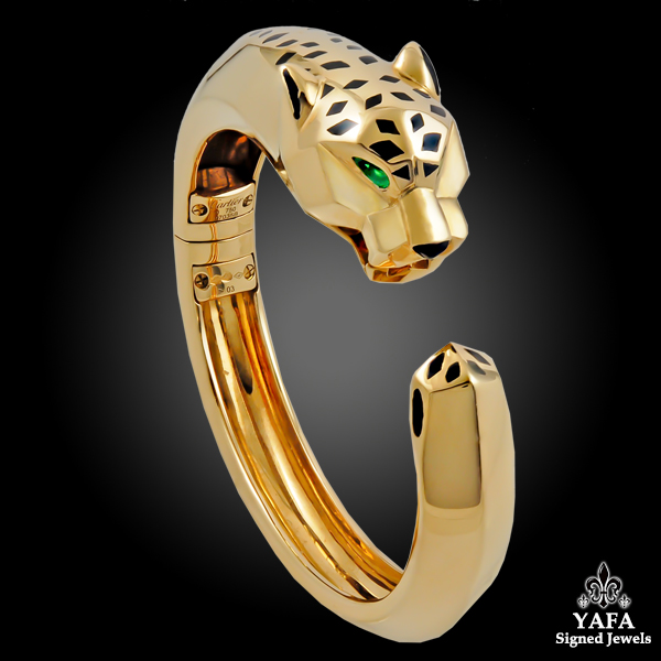 CARTIER Onyx, Peridot Panther Bangle Bracelet