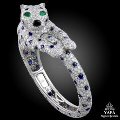 CARTIER Sapphire, Onyx, Emerald Panther Bangle