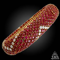 Retro-Style Ruby Diamond Bombe Bracelet
