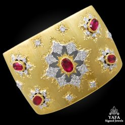 M.BUCCELLATI Diamond Ruby Wide Cuff Bracelet