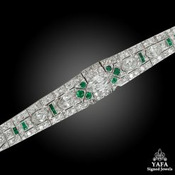 Circa 1950s Diamond Emerald Bracelet