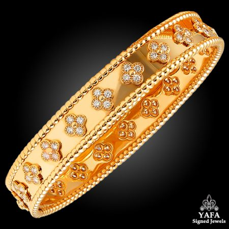 bracelet pink vintage gold vca yellow p sw with alhambra and diamond opal