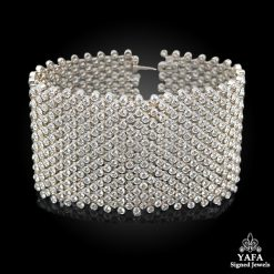 Modern Platinum Diamond Wide Bracelet - 46 cts.