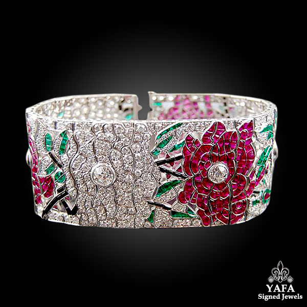 Contemporary Diamond Ruby Emerald Onyx Rose Bracelet