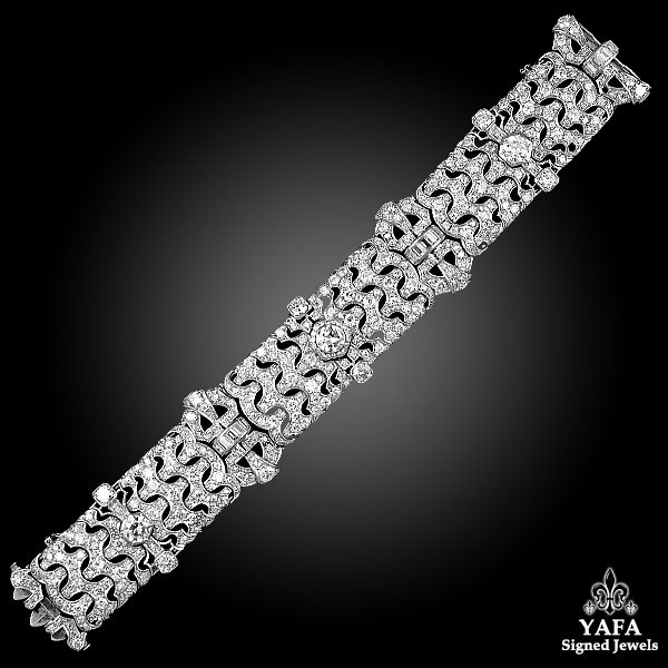 ART DECO BULGARI Platinum Diamond Bracelet