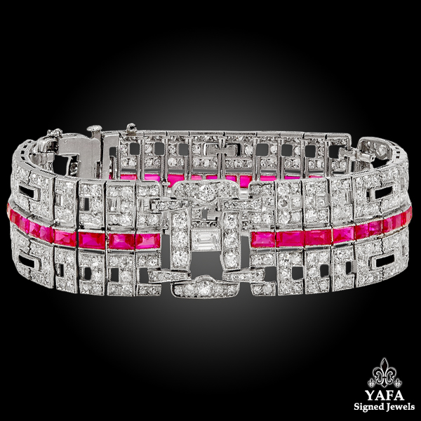 Circa 1930s Diamond, Ruby Bracelet