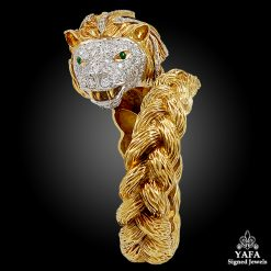 18k Gold Diamond & Emerald Lion Bangle