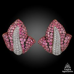 De GRISOGONO Pink Sapphire & Diamond Earrings