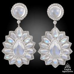 Platinum Diamond & Moonstone Earrings