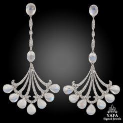 Platinum Moonstone & Diamond Earrings