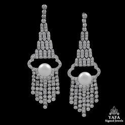 Estate Diamond, Pearl Earrings