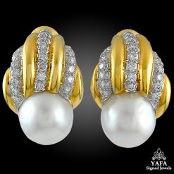 DAVID WEBB Diamond Pearl Earrings