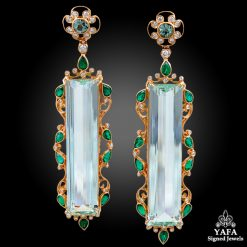 18k Rose Gold Diamond,Aquamarine & Emerald Beryle Earrings