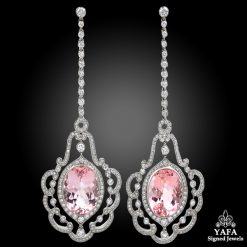 Platinum Morganite, Diamond Hanging Earrings