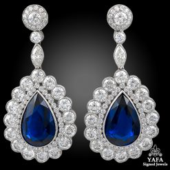 Platinum Diamond & Sapphire 24.12 cts. Earrings