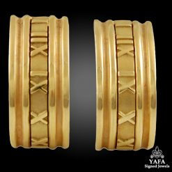 TIFFANY & Co. Yellow Gold Roman Numeral Earrings