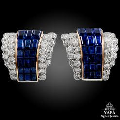 VAN CLEEF & ARPELS Mystery-set Sapphire, Diamond Earrings