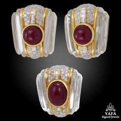 18k Gold Crystal, Cabochon Ruby & Diamond Earrings Suite