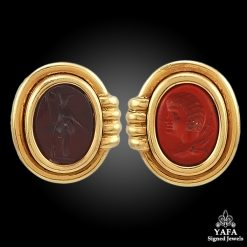 BULGARI Agate Gold Earrings