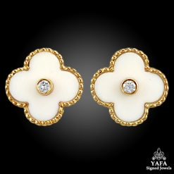 VAN CLEEF & ARPELS White Coral & Diamond Alhambra Earrings
