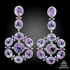 Platinum Diamond, Amethyst & Pink Sapphire Earrings