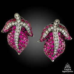 18k Gold Diamond Pink Sapphire Leaf Earrings