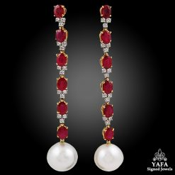18k Gold Diamond, Ruby,Pearl Drop Earrings