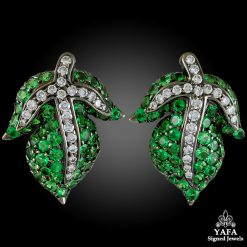 18k Gold Diamond Green Garnet Leaf Earrings