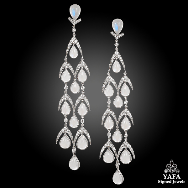 Platinum Diamond, Moonstone Hanging Earrings 25.57cts.