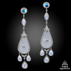 Moonstone, Diamond Drop Earrings